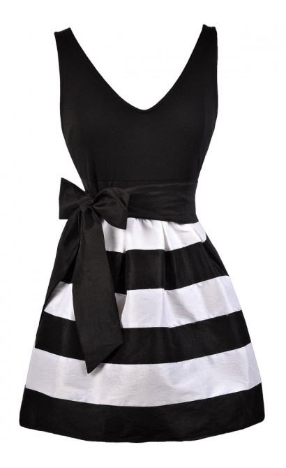 Black and White Stripe Dress, Cute Stripe Party Dress, Black and White A-Line Dress, Cute Summer Dress, Stripe Party Dress