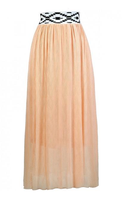 Cute Maxi Skirt, Peach Maxi Skirt, Summer Maxi Skirt