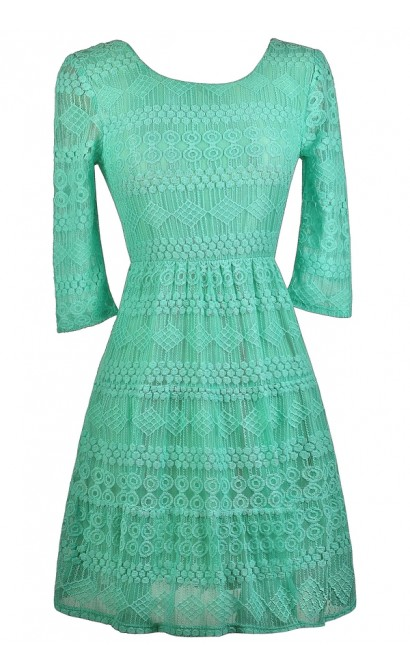 Cute Teal Dress, Teal Lace Dress, Teal Lace Three Quarter Sleeve Dress