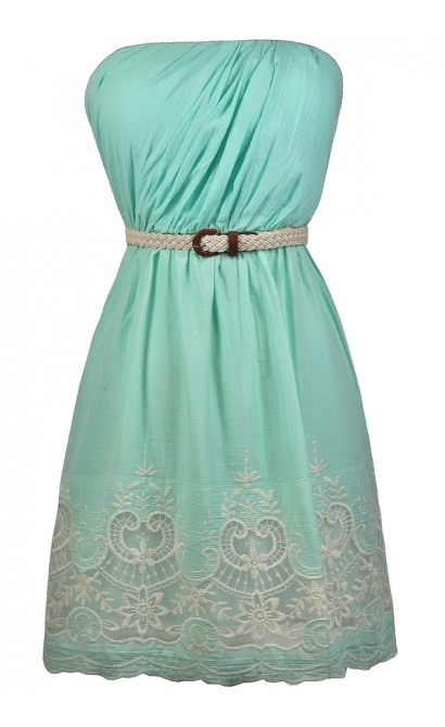 Mint and Beige Embroidered Dress, Cute Mint Dress, Mint Sundress, Belted Mint Dress, Mint A-Line Dress