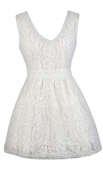 White Lace Dress, Cute White Dress, White Sundress, White A-Line Lace Dress, White Party Dress
