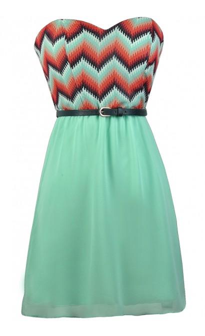 Cute Chevron Dress, Mint Chevron Dress, Chevron Belted Dress, Cute Summer Dress, Cute Belted Dress