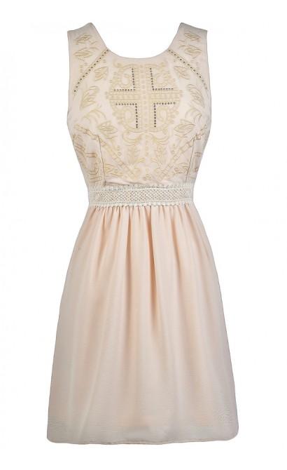 Cute Cream Dress, Cream Embellished Dress, Beige A-line Dress, Cute Party Dress