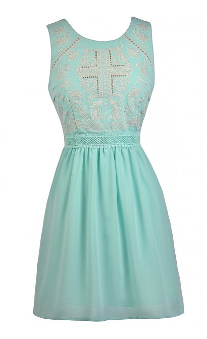 Sky Blue Embellished Dress, Blue Mint Dress, Pale Blue Party Dress, Stud Embellished Blue Dress