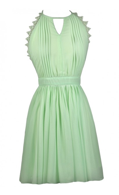 Lime Mint Party Dress, Cute Summer Dress, Lime Mint A-Line Dress, Lime Halter Dress