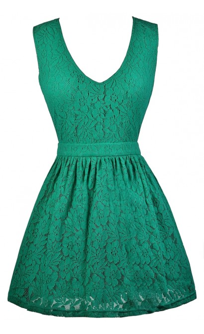 Teal Lace Dress, Cute Summer Dress, Teal A-Line Dress, Lace Party Dress