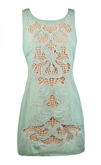 Mint and Beige Shift Dress, Cute Mint Dress, Mint Summer Dress, Ark and Co Dress