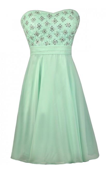Mint Beaded Dress, Mint Prom Dress, Mint Homecoming Dress, Mint Strapless Dress, Cute Mint Dress