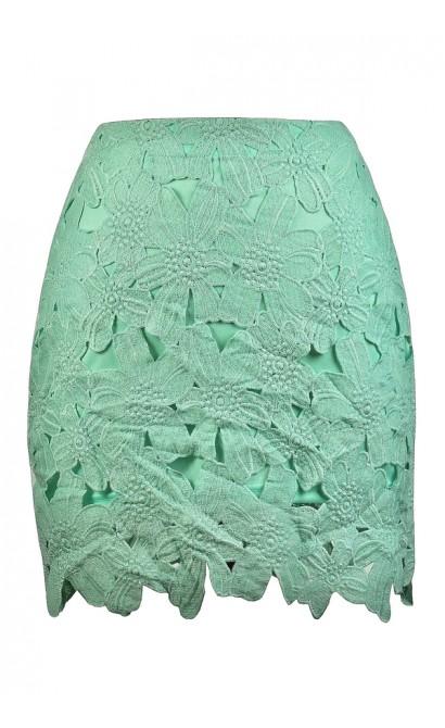 Mint Crochet Lace Mini Skirt, Cute Mint Skirt, Cute Summer Skirt, Mint Green Skirt