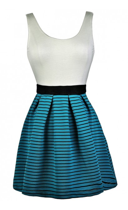Teal Stripe A-Line Dress, Cute Teal Sundress, Teal Colorblock Dress, Nautical Stripe Dress