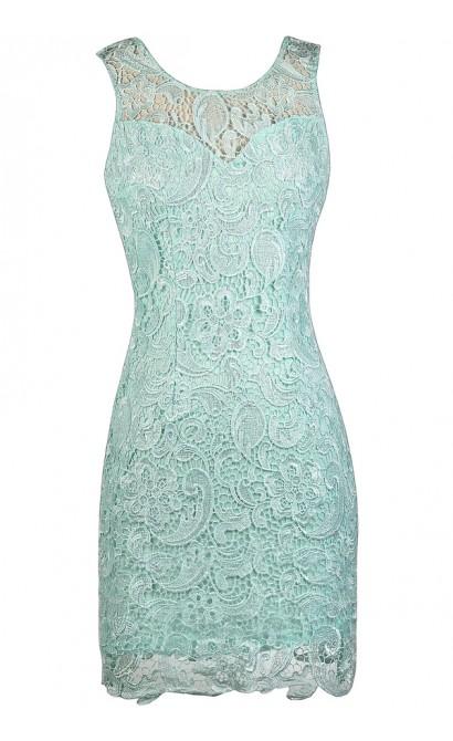 Mint Lace Dress, Cute Mint Dress, Mint Lace Sheath Dress, Mint Cocktail Dress