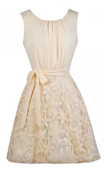Cute Cream Dress, Cream Embroidered Dress, Cream A-Line Dress