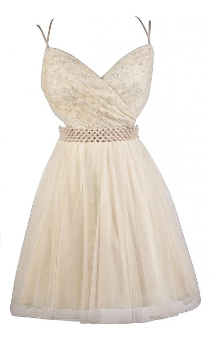 Cream and Gold Lace Party Dress, Beige Lace Homecoming Dress, Cream and Gold Lace Party Dress