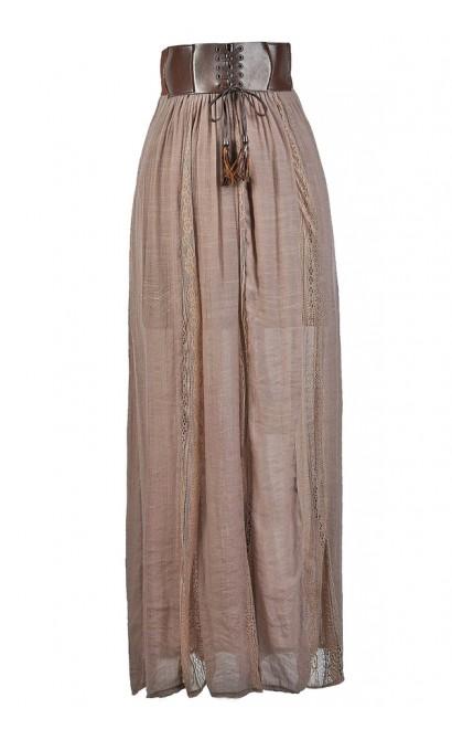 Mocha Maxi Skirt, Cute Maxi Skirt, Prairie Maxi Skirt, Leatherette Waist Maxi Skirt