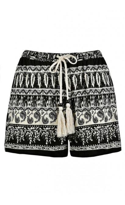 Cute Shorts, Black and Ivory Printed Shorts, Black and Ivory Pattern Shorts