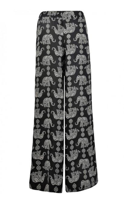 Elephant Print Palazzo Pants, Black and Beige Printed Palazzo Pants, Cute Palazzo Pants