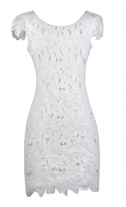 White Lace Pencil Dress, White Capsleeve Lace Dress, White Lace Rehearsal Dinner Dress, White Lace Bridal Shower Dress