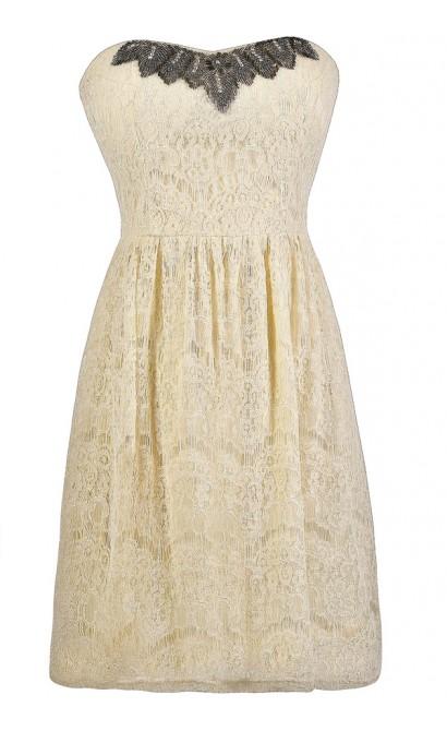 Ivory Lace Dress, Ivory A-Line Dress, Ivory Embellished Dress, Ivory Lace Rehearsal Dinner Dress
