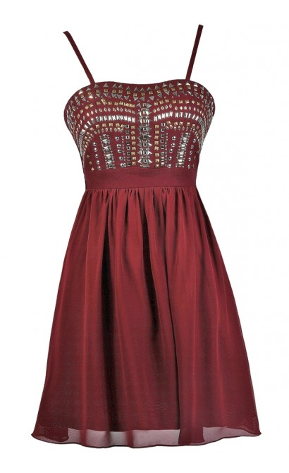 Burgundy Embellished Party Dress, Burgundy Stud Embellished Dress, Burgundy Cocktail Dress