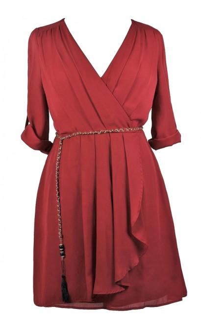 Cute Plus Size Wrap Dress, Burgundy Red Plus Size Dress, Cute Plus Size Dress, Plus Size Party Dress