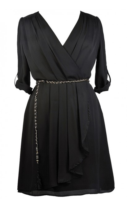 Black Plus Size Wrap Dress, Cute Plus Size Dress, Black Plus Size Party Dress