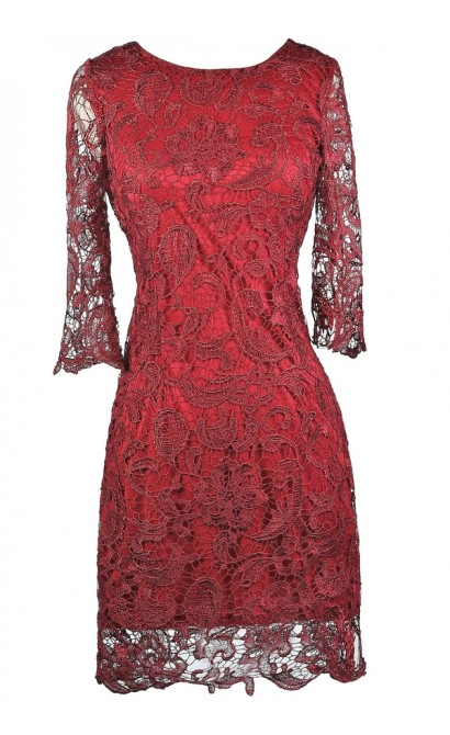 Burgundy lace Sheath Dress, Cute Holiday Dress, Burgundy Lace Bridesmaid Dress
