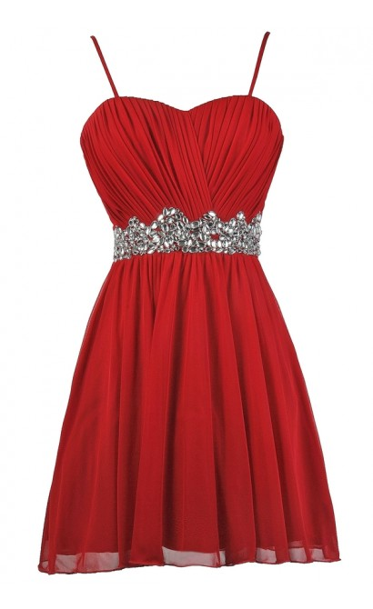 Red Rhinestone Party Dress, Red Cocktail Dress, Red Holiday Dress, Red Rhinestone Dress