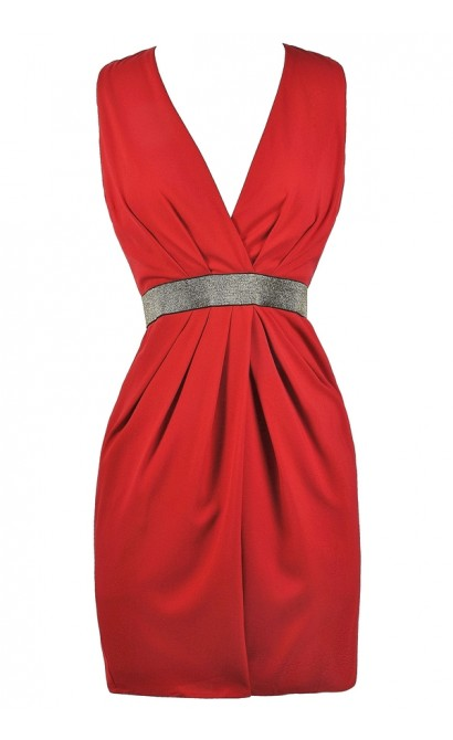 Red and Gold Party Dress, Cute Holiday Dress, Red and Gold Cocktail Dress