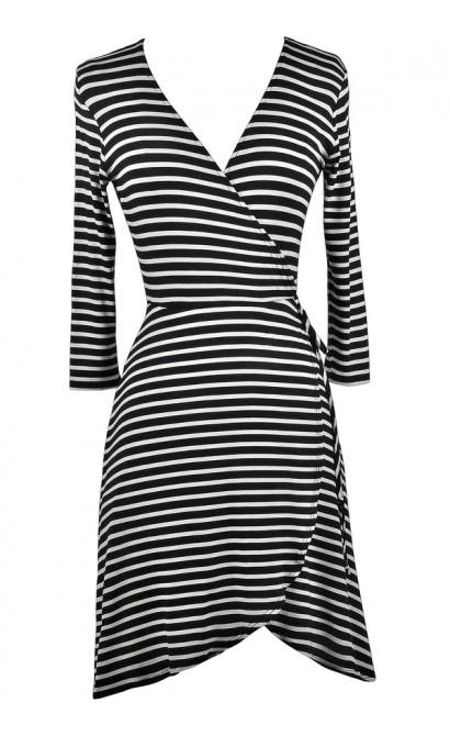 Black and White Stripe Wrap Dress, Cute Wrap Dress, Black and White Nautical Stripe Dress