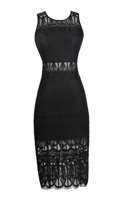 Black Lace Pencil Dress, Black Lace Midi Dress, Black Lace Cocktail Dress