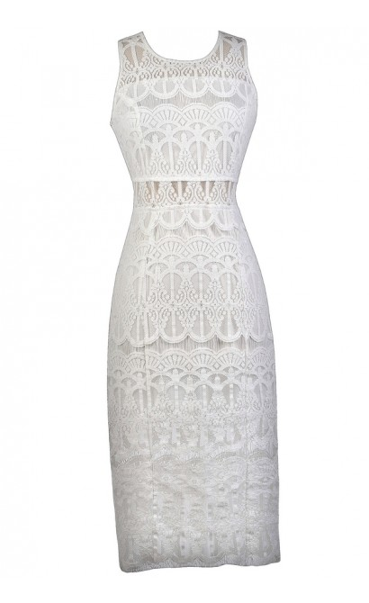 White Lace Midi Dress, White Lace Pencil Dress, Cute Rehearsal Dinner Dress, White Lace Bridal Shower Dress