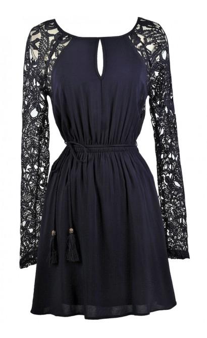 Cute Navy Dress, Cute Fall Dress, Navy Lace Sleeve Dress, Navy Sundress