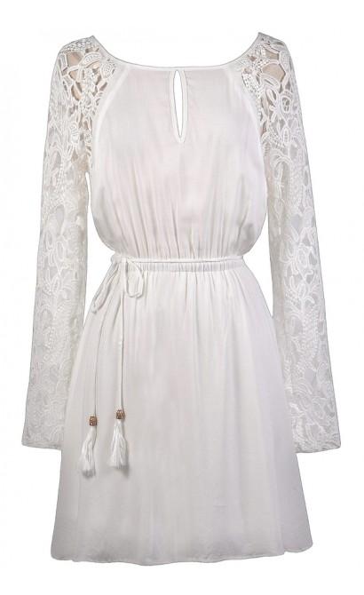 Off White Crochet Sleeve Dress, Cute Fall Dress, Cute Boho Dress, Off White Sundress