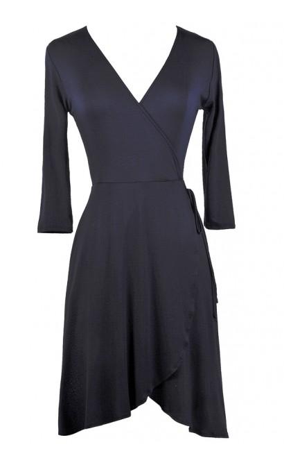 Cute Navy Dress, Navy Wrap Dress, Cute Fall Dress, Navy Summer Dress