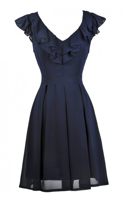 Cute Navy Dress, Navy Ruffle Dress, Navy Party Dress, Navy Bridesmaid Dress