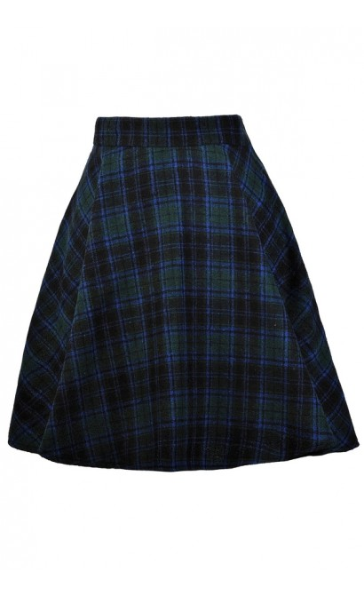Blue and Green Plaid Skirt, Tartan Plaid Skirt, Scottish Plaid Skirt