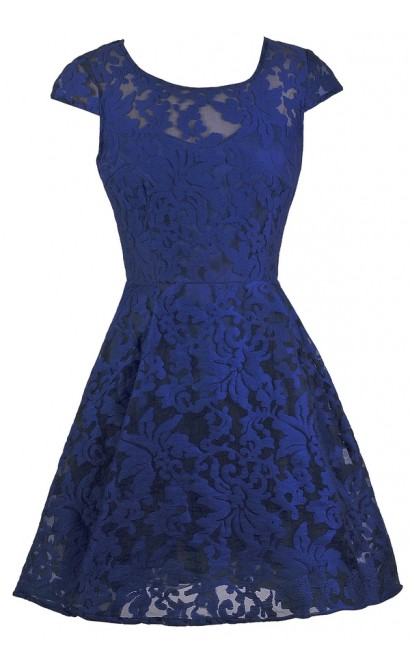 Bright Blue Party Dress, Royal Blue A-Line Dress, Bright Blue Capsleeve Embroidered Dress