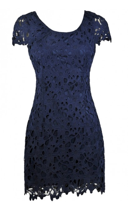 Navy Capsleeve Lace Pencil Dress, Cute Navy Dress, Navy lace Cocktail Dress, Navy Lace Party Dress