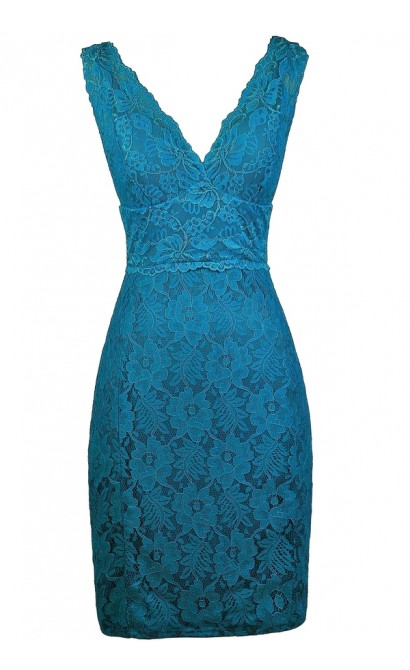 Teal Lace Party Dress, Teal Blue Lace Dress, Teal Lace Bodycon Dress