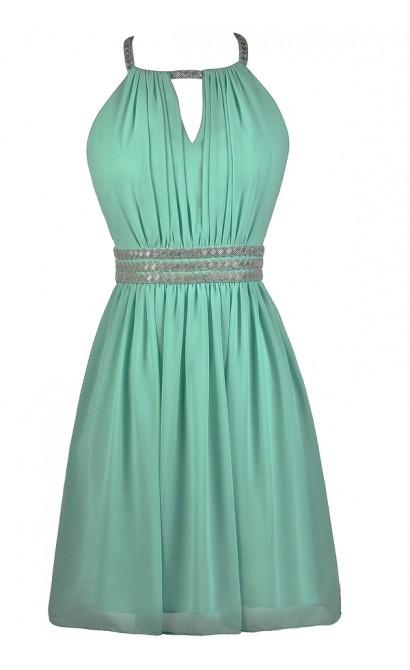 Beaded Mint Dress, Mint Party Dress, Mint Cocktail Dress, Mint Prom Dress
