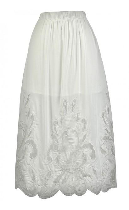 White Lasercut Midi Skirt, Cute White Skirt, Longer Length White Skirt