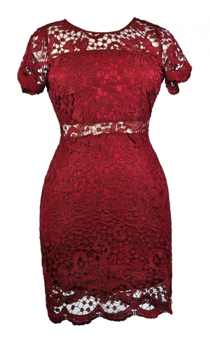 Cute Plus Size Dress, Red Plus Size lace Dress, Burgundy Lace Sheath Dress, Online Boutique Dress