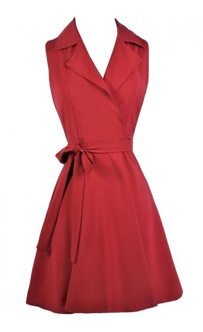 Cute Red Dress, Red Wrap Shirt Dress, Cute Work Dress