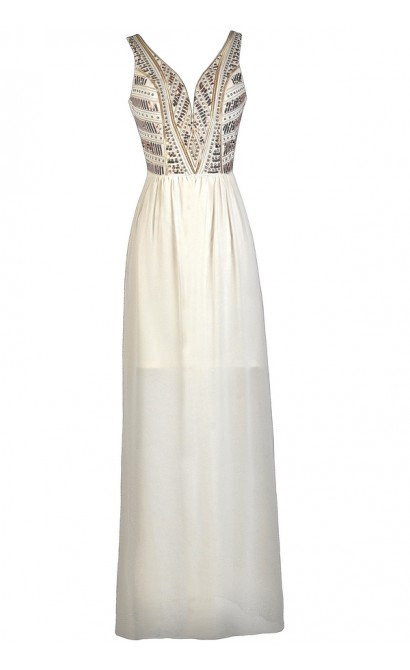 Ivory Embellished Maxi Dress, Ivory Prom Dress, Cute Maxi Dress, Ivory and Gold Maxi Dress