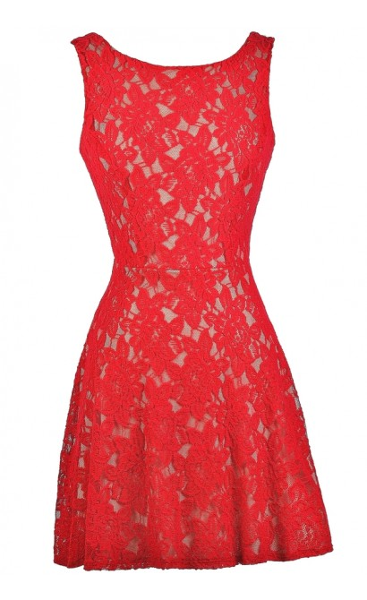 Cute Red Dress, Red Lace Dress, Red Dress Boutique Dress, Red Lace Party Dress