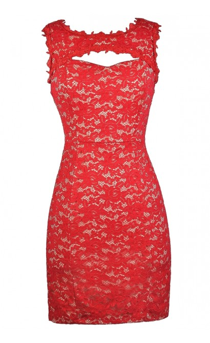 Red Lace Dress, Cute Red Dress, Red Lace Cocktail Dress, Red Lace Party Dress