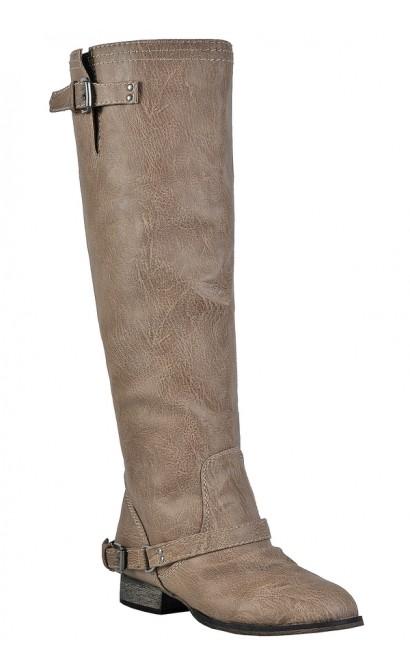 Beige Riding Boots, Cute Fall Boots, Red Zipper Boots