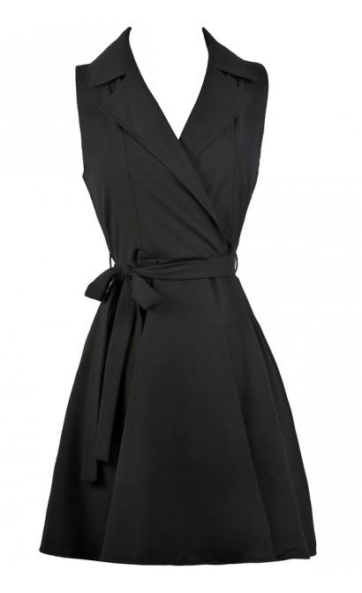 Cute Work Dress, Little Black Dress, Black Wrap Shirt Dress