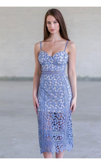Lily Boutique Sky Blue Crochet Lace Midi Dress, Blue Lace ... - photo #11