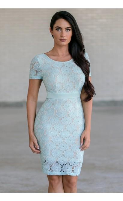 Bygone Era Lace Pencil Dress in Mint/Beige